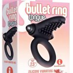 S Bullet Ring Tongue Silicone Vibrating Ring Black 2.5 Inches