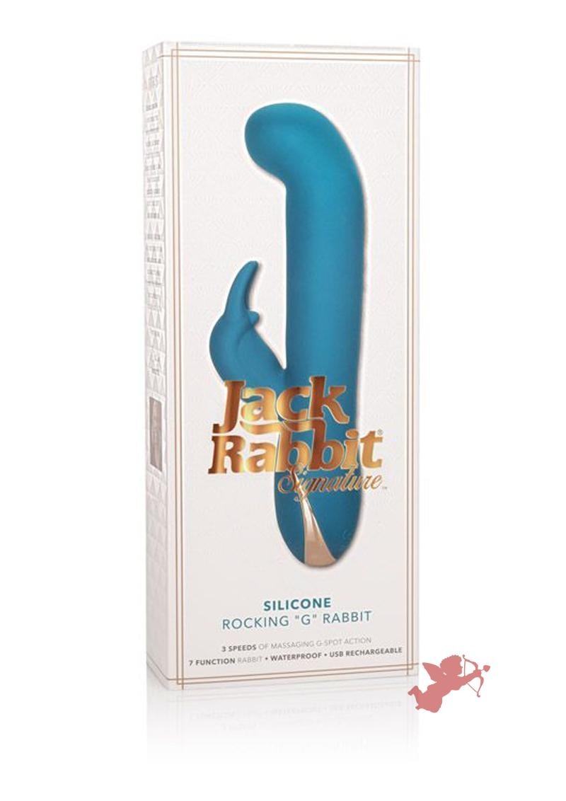 Jack Rabbit Signature Silicone Rocking G Rabbit USB Rechargeable Waterproof Blue