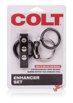 Colt Enhancer Set Adjustable Fastener Snap With Stainless Steel Cockring