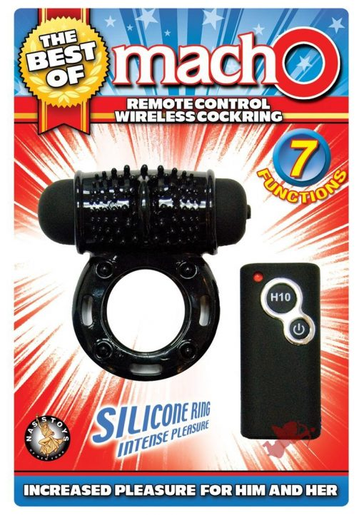 The Best Of Macho Remote Control Wireless Silicone Cock Ring Black
