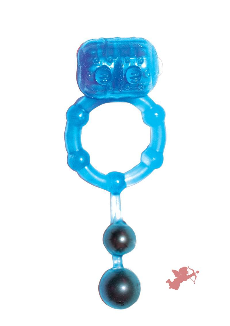 The Best Of Macho Ultra Erection Keeper Vibrating Silicone Cock Ring W/Dangling Balls Waterproof Blue