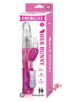 Energize Her Bunny 01 Dual Motor Rotating Rabbit USB Rechargeable Vibe Waterproof Pink 9 inch
