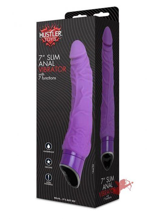 Hustler Toys Slim Anal Silicone Vibrator Waterproof Purple 7