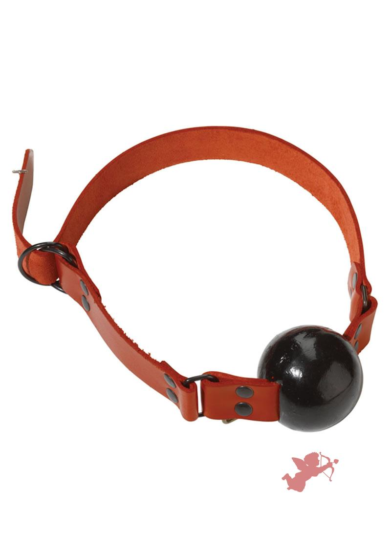 Lrg Gag Ball - D Ring Red Strap/blk Ball