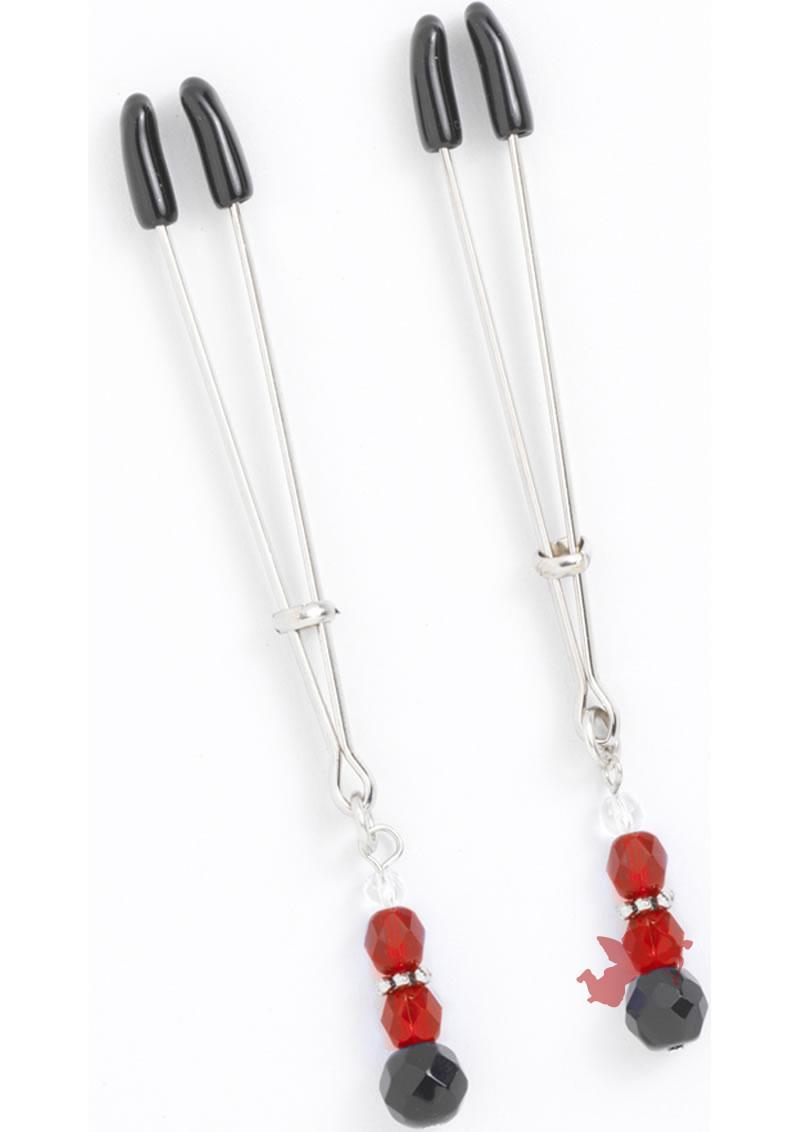Red Beaded Clamps - Tweezer