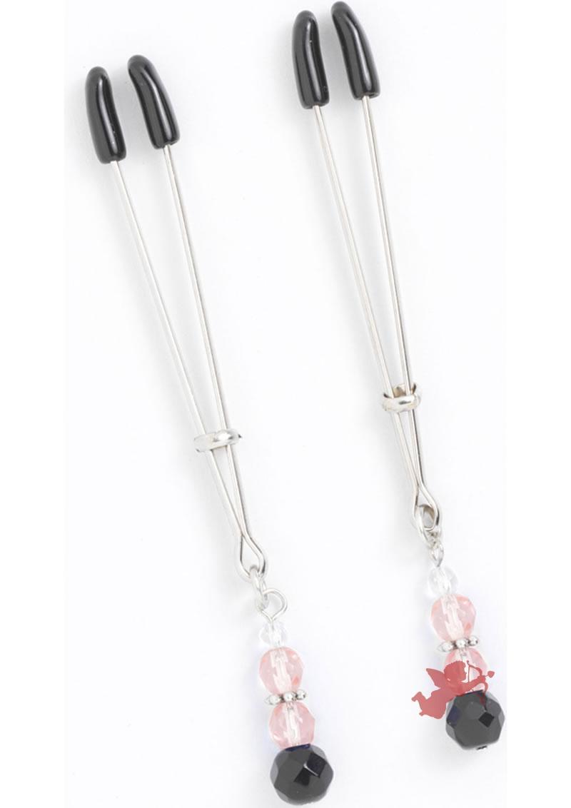 Pink Beaded Clamps - Tweezer