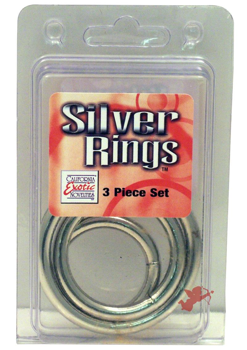 Silver Cock Ring 3 Piece Set