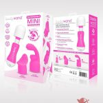 Bodywand Rechargeable Mini Massager Silicone With Two Attachments Pink
