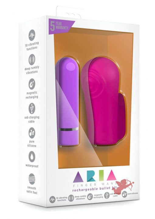 Aria Finger Wand Silicone Rechargeable Bullet Kit Waterproof Fucshia