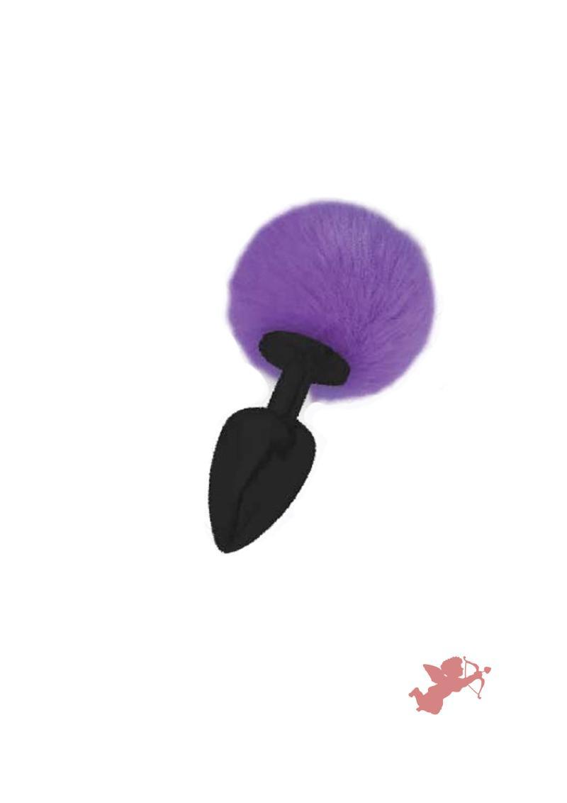 Love Tails Kali Black Medium Plug With Pom Pom Tail Purple