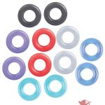The 9's Baller's Dozen Cock Rings Assorted Colors 12 Individually Wrapped Per Box