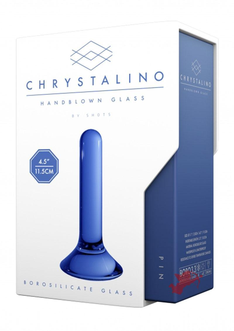 Chrystalino Pin Glass Anal Plug Waterproof Blue 4.5 Inch