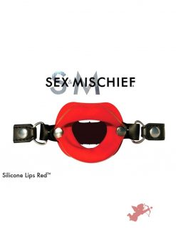 Sex And Mischief Silicone Lips Open Mouth Gag Red