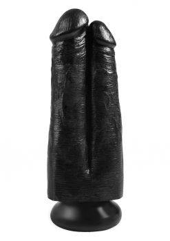 King Cock Two Cocks One Hole Realistic Dildo Black 7 Inch
