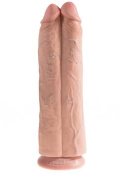 King Cock Two Cocks One Hole Realistic Dildo Flesh 11 Inch
