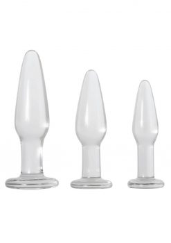 Adam and Eve Glass Anal Training Trio Anal Plug Waterproof Clear 3 Sizes per Set