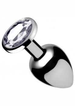 Booty Sparks Clear Gem Medium Anal Plug Silver 2.5 Inches