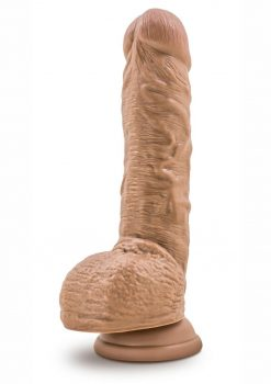 Silicone Willy`s Non Vibrating Realistic Dildo With Balls Mocha 9 Inch