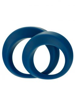 Linx Perfect Twist Cock Ring Set Silicone Waterproof Blue 2 Per Pack