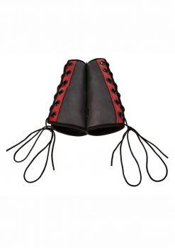 Saffron Gauntlet Cuffs Adjustable Black/Red