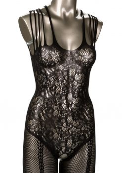 Scandal Strappy Lace Body Suit One Size Black
