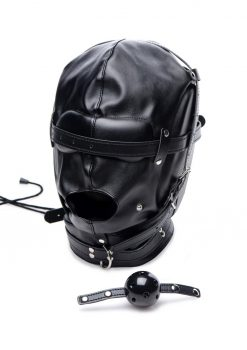 Strict Bondage Hood With Breathable Ball Gag Adjustable Padded Eyes and Ears