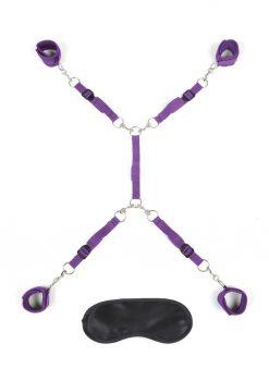 Lux Fetish Bed Spreader 7pc Kit Playful Restraint System  Purple