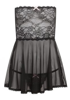 Barely Bare Mesh and Lace Baby Doll Black One Size