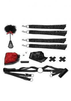 Lux Fetish Night Of Romance Satin Cuffs With Rose Petals  6pc. Bedspreader Set