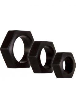 Zero Tolerance Lug Nuts Cockring Waterproof Black 3 Each Per Box