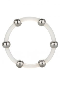 Steel Beaded Silicone Cock Ring X-Large Clear