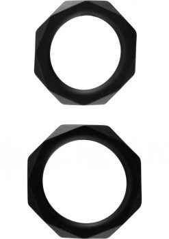 Rock Rings The Cocktagon Silicone Rings Black