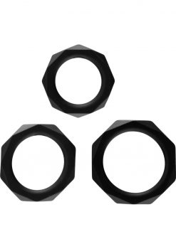 Rock Rings The Cocktagon 3 Silicone Rings Black