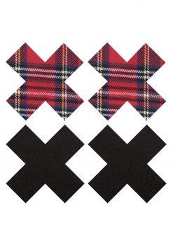 Peekaboo Schoolgirl X Pasties - Red/Black
