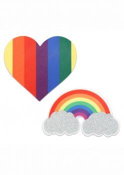 Peekaboo Pride Glitter Rainbows And Hearts Pasties - Rainbow