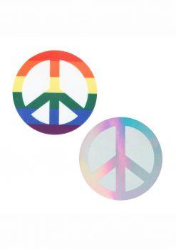 Peekaboo Pride Peace Signs Pasties - Rainbow