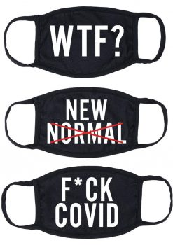 Maskerade Protective Mask (F Covid/ WTF?/ New Normal) 3 Per Pack - Black