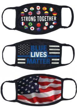 Maskerade Protective Mask (Blue Lives Matter/ Strong Together/ American Flag) 3 Per Pack - Blue