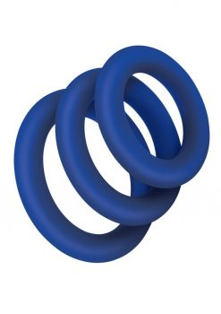Zolo Extra Thick Silicone Cock Ring 3pk - Navy
