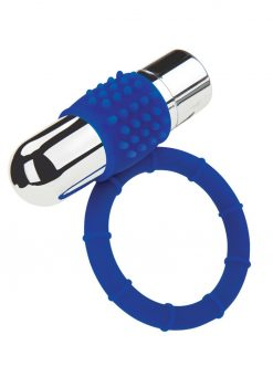 Zolo Rechargeable Vibrating Silicone Cock Ring - Navy/Silver