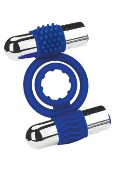 Zolo Rechargeable Duo Vibrating Silicone Cock Ring - Navy/Silver