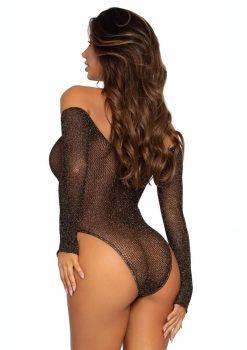 Leg Avenue Seamless Lurex Fishnet Bodysuit With Sanp Crotch - O/S - Black/Gold