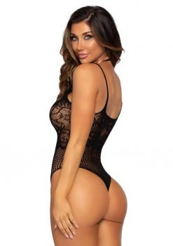 Leg Avenue Seamless Lace And Net Strappy Halter Thong Teddy - O/S - Black