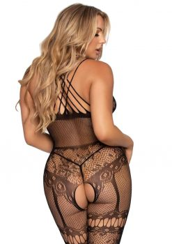 Leg Avenue Net andamp; Lace Strappy Halter Bodystocking With Rhinestone Accents - O/S - Black