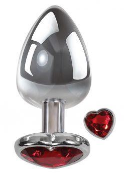 Adam andamp; Eve Heart Gem Anal Plug Large - Silver/Red