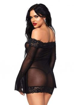 Leg Avenue Off The Shoulder Lace Trimmed Mesh Mini Dress With Lace Bell Sleeves And Matching G-String (2 Piece) - O/S - Black