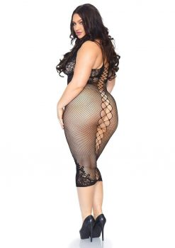 Leg Avenue Seamless Net And Lace Dual Strap Halter Dress With Faux Lace Up Back - 1X-2X - Black