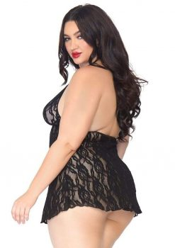 Leg Avenue Halter Rose Lace Dress - Plus Size - Black