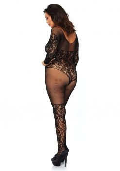 Leg Avenue Vine Lace And Net Long Sleeved Bodystocking - Plus Size - Black