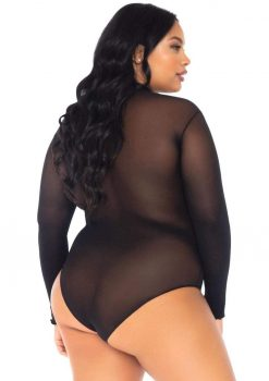 Leg Avenue Opaque High Neck Long Sleeved Bodysuit With Snap Crotch - 1X-2X - Black